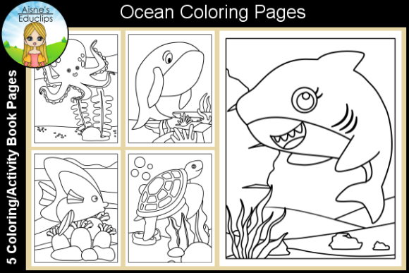 Print on Demand: Ocean Coloring Pages Graphic Coloring Pages & Books Kids By Aisne Educlips