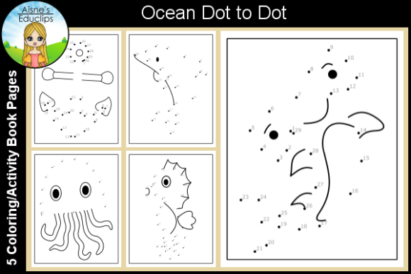 Print on Demand: Ocean Dot-to-Dot Pages Graphic KDP Interiors By Aisne Educlips