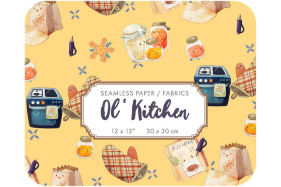 Old Kitchen - Cooking Kids Digital Paper Graphic Patterns By Alphabelli
