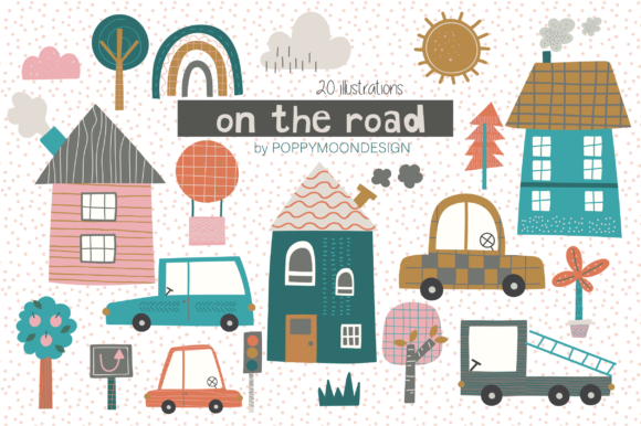 Print on Demand: On the Road Clipart Graphic Illustrations By poppymoondesign