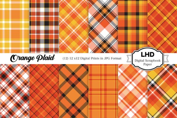 Orange Plaids Digital Papers Graphic Patterns By LeskaHamatyDesign
