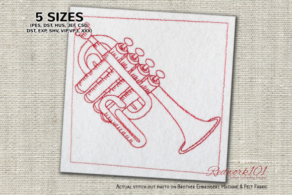 Piccolo-trumpet Music Embroidery Design By Redwork101