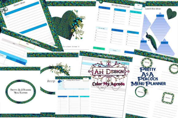 Pretty As a Peacock Meal Planner Graphic Print Templates By AHDesign