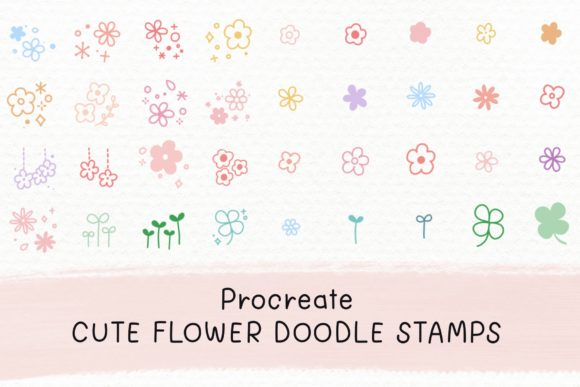 Procreate Flower Doodle Stamp Brush Set Graphic Brushes By Jyllyco