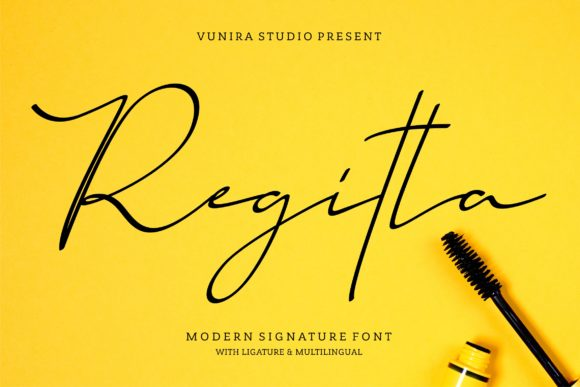 Print on Demand: Regitta Script & Handwritten Font By Vunira