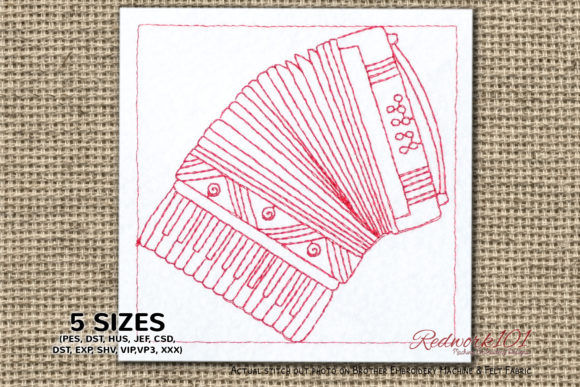 Rossetti-Beginner-Piano-Accordion Redwork Music Embroidery Design By Redwork101