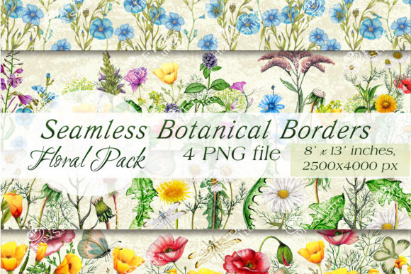 Seamless Floral Borders Set Graphic Backgrounds By arevkasunshine