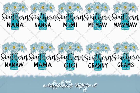 Southern Grandma Bundle with Daisies Graphic Illustrations By Inkredible Image
