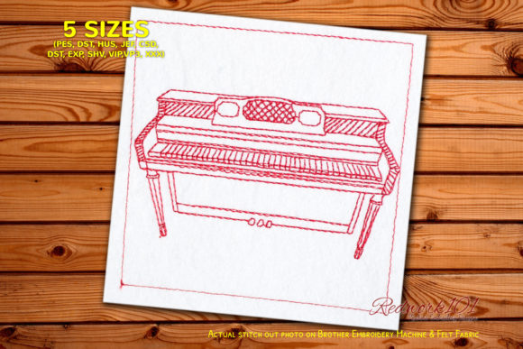 Styles-Spinet-Pianos Lineart Music Embroidery Design By Redwork101