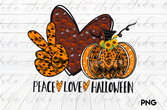 Print on Demand: Sublimation Peace Love Halloween Graphic Crafts By Suda Digital Art