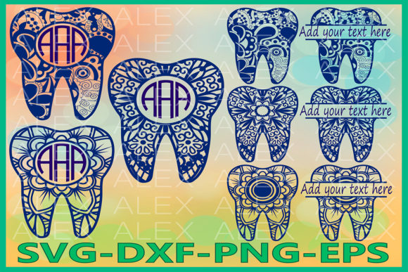 Print on Demand: Tooth Monogram, Tooth Mandala Graphic Illustrations By AlexSVGStudio