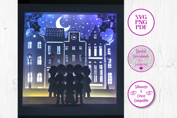 Victorian Carolers - 3D Shadow Box Graphic 3D Shadow Box By Jumbleink Digital Downloads