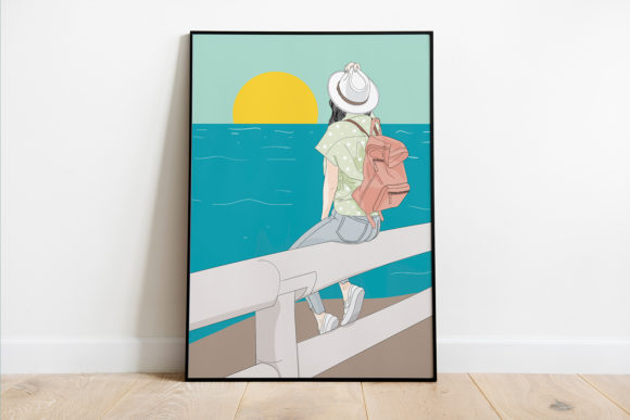 Print on Demand: Wall Art Girl Sitting by the Sea Graphic Illustrations By Saydung89