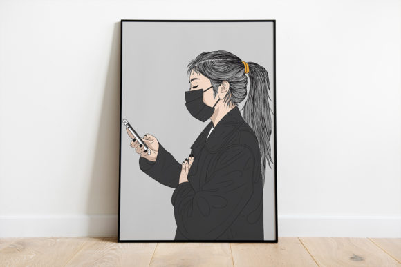 Print on Demand: Wall Art Woman Wearing a Mask Graphic Illustrations By Saydung89