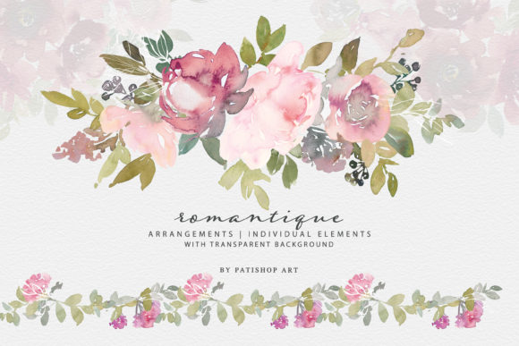 Watercolor Blush and Burgundy Floral Set Graphic Illustrations By Patishop Art