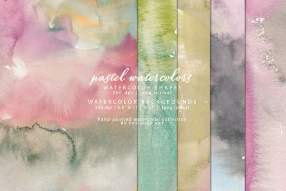 Watercolor Shapes and Backgrounds Graphic Textures By Patishop Art