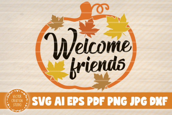 Print on Demand: Welcome Friends Pumpkin Graphic Graphic Templates By VectorCreationStudio