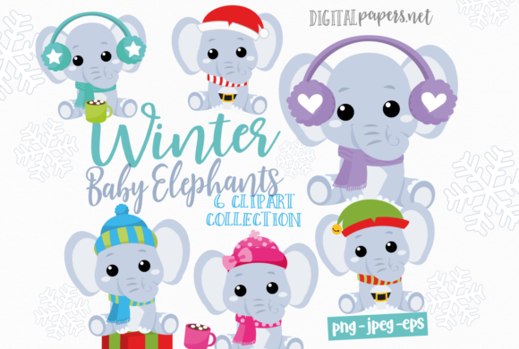 Print on Demand: Winter Baby Elephants Clipart Graphic Illustrations By DigitalPapers