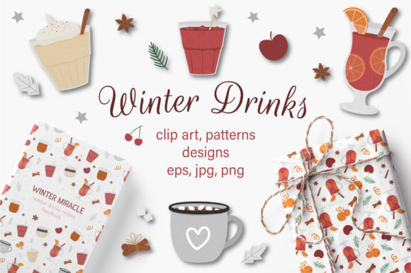 Winter Drinks Graphic Illustrations By lexiclaus