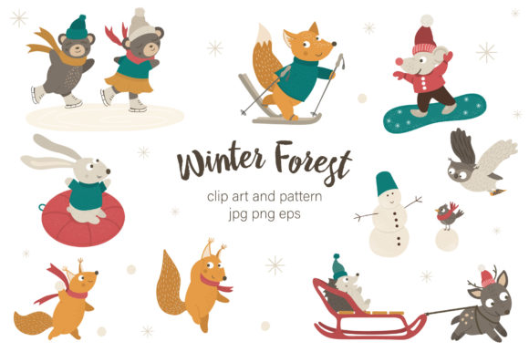 Winter Forest Graphic Illustrations By lexiclaus