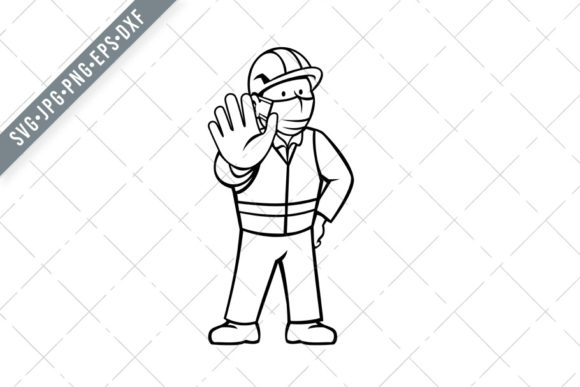 Print on Demand: Worker Wearing Face Mask Stop Graphic Illustrations By patrimonio