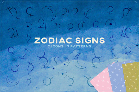 Print on Demand: Zodiac Horoscope Sign Planet Icon Vector Graphic Icons By Inkclouddesign