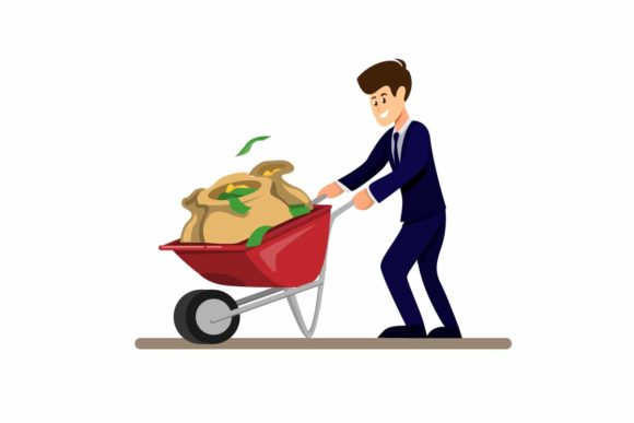 Print on Demand: Man Carrying Money Bag in Wheelbarrow Graphic Illustrations By aryo.hadi