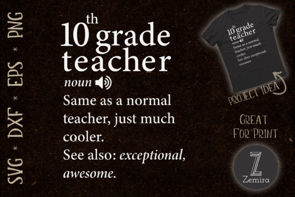 Print on Demand: 10th Grade Teacher Funny Definition Graphic Print Templates By Zemira
