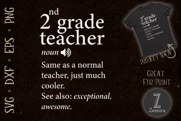 Print on Demand: 2nd Grade Teacher Funny Definition Graphic Print Templates By Zemira