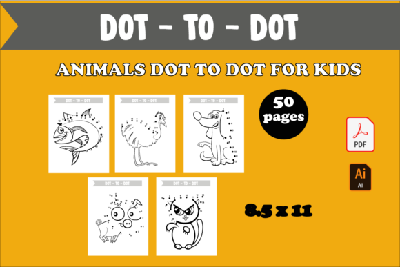 50 Animals Dot to Dot Activity for Kids Graphic KDP Interiors By KDP_DESIGN - Image 1