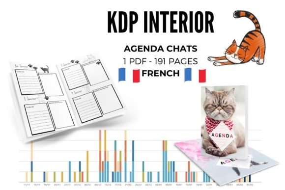 AGENDA CHATS | AGENDA CATS | FRENCH Graphic KDP Interiors By Piqui Designs