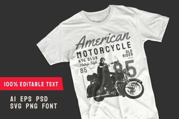 Print on Demand: American Vintage Motorcycle T-shirt Graphic Illustrations By Universtock