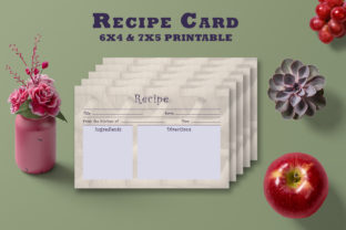 Print on Demand: Artistic Floral Recipe Card Template V28 Graphic Print Templates By Creative Tacos