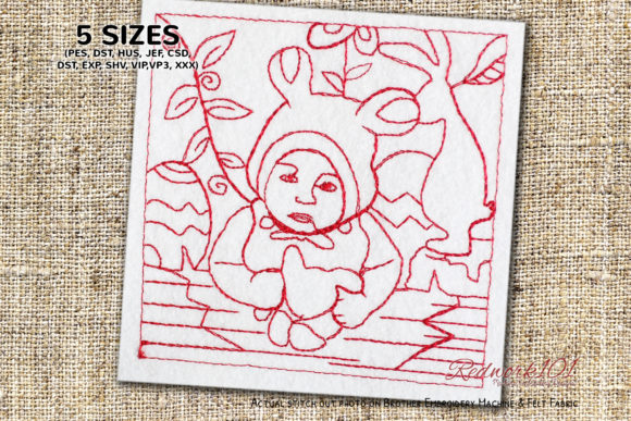 Baby Dreessing Like Bunny Babies & Kids Quotes Embroidery Design By Redwork101