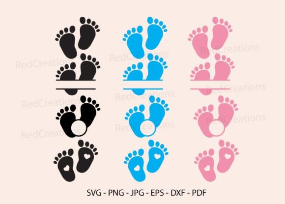 Baby Feet, Baby Feet Monogram Frame Graphic Crafts By RedCreations