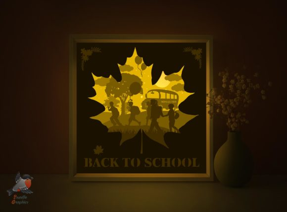 Back to School Shadow Box Template Graphic 3D Shadow Box By SweetieGraphics