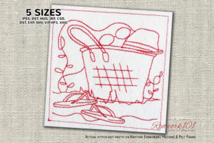 Beach Bag on Sand Lineart Beach & Nautical Embroidery Design By Redwork101