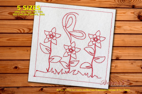 Beauful Butterfly on Flower Redwork Bugs & Insects Embroidery Design By Redwork101