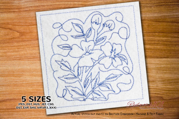 Beautiful Blossom Flowers Lineart Outline Flowers Embroidery Design By Redwork101