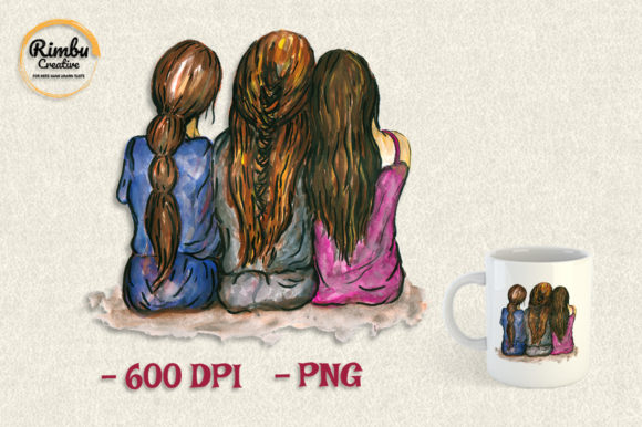 Print on Demand: Best Friend 3 Girls Watercolor Clipart Graphic Illustrations By Rimbu Creative