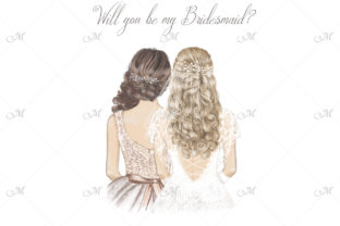 Bride and Bridesmaid with Curly Hair Graphic Illustrations By MaddyZ