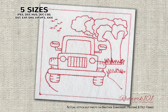 Buggy Jeep on Seaside Transportation Embroidery Design By Redwork101