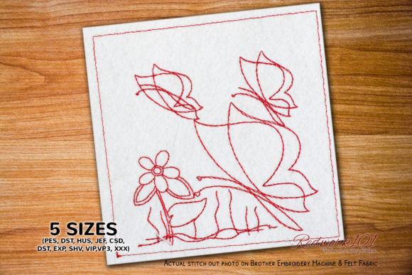 Butterfly Flying on Flower Redwork Bugs & Insects Embroidery Design By Redwork101