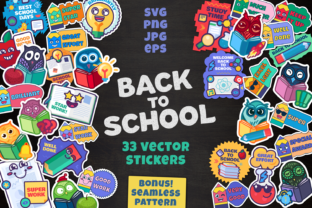 Print on Demand: Cartoon School Stickers Set Gráfico Objetos Por barsrsind