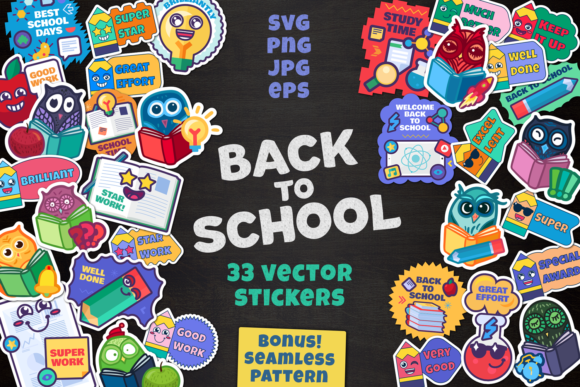Print on Demand: Cartoon School Stickers Set Graphic Objects By barsrsind