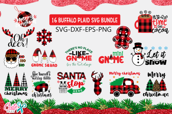 Christmas  Buffalo Plaid Bundle Graphic Crafts By Cute files