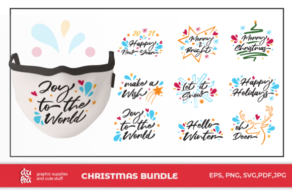 Print on Demand: Christmas Mask Design - Bundle Graphic Illustrations By duka