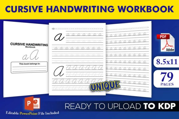 Print on Demand: Cursive Handwriting Workbook KDPInterior Gráfico Páginas KDP Por Beast Designer