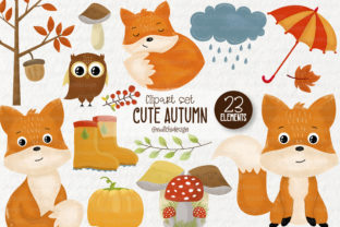 Print on Demand: Cute Autumn/Fall Clipart Set Graphic Illustrations By Mutchi Design