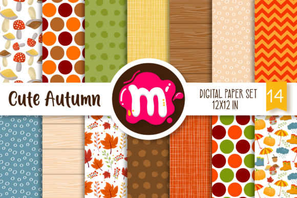 Print on Demand: Cute Autumn/Fall Digital Paper Set Graphic Backgrounds By Mutchi Design